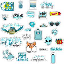 Amazon Com Decalcomania Vsco Teal Blue Green Vinyl Stickers Set Of 27 Decals For Tumblers Water Bottles And Laptops Automotive