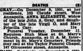 Anne Elizabeth (Carr) Gray Obituary - Newspapers.com