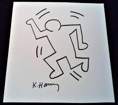 Signed Keith Haring Dancing Man Ink Drawing