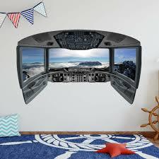 Zoomie Kids Aaryahi Airplane Cockpit Plane Window Kids Room Vinyl Wall Mural Wayfair