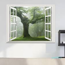 Green Old Forest Tree 3d Window View Wall Decal A Big Tree Sticker Wall Decoration Living Room Wall Sticker Home Diy Decal Sticker Art For Walls Sticker Decals For Walls From Qian003