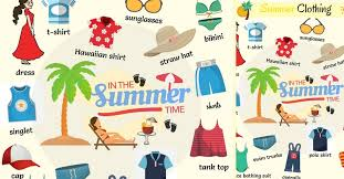 summer clothes and accessories names