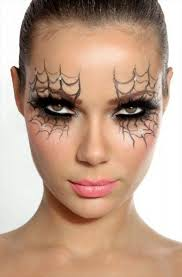 spider web shadow halloween makeup on