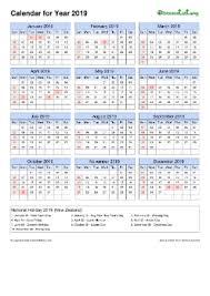 2019 yearly calendar free printable pdf