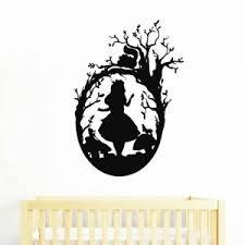 Alice In Wonderland Silhouette Wall Art Decal Decor Cheshire Cat Vinyl Sticker Ebay