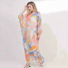 printed long sleeve summer maxi dress