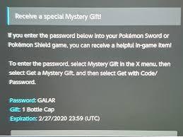 Pokemon SwSh Mystery Gift Codes - Album on Imgur