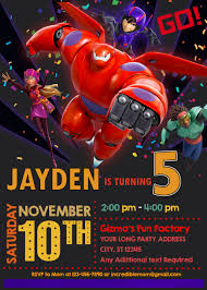 Big Hero 6 Birthday Invitation Invitaciones Big Heroes Baymax