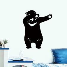 33x43cm Diy Removable Cartoon Black Bear Wall Stickers Home Decorative Decal Kids Nursery Baby Room W Wall Stickers Aliexpress