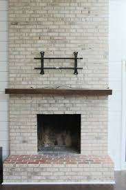 brick fireplace with milk paint