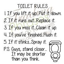 Toilet Rules Wall Decal Trading Phrases