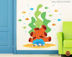 Coral And Fish Wall Decals Ocean Vinyl Sticker Large Coral And Seaweed Decor Wall Decals Vinyl Sticker Sea Theme