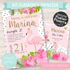 Kit Flamenco Princesa Rosas Editable Pizarra Invitacion Q21