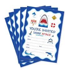 Tarjetas De Invitacion Del Tema Del Mar Azul Tiburon De Dibujos