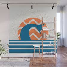 Hang Loose Wave Sun Surfer Shaka Beach Retro Graphic Design Horizontal Daze Waves Wall Mural By Mightyfacedesigns Society6