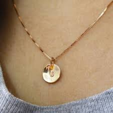 tiny 14k gold initial necklace initial
