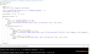 c program to find roots of a quadratic