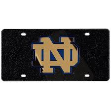 Notre Dame Fighting Irish Glitter License Plate Black