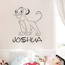 Custom Name Simba Wall Decal Personalized Sticker Lion King Art Decorations For Home Teen For Kids Boys Bedroom Nursery Lw114 Wall Stickers Aliexpress