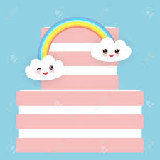 Kawaii Feliz Cumpleanos Torta Dulce De Color Rosa De Fresa Crema