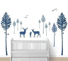 Tree Fabric Wall Decals Deer And Pine Tree Watercolor Decals Eco Wall Decals