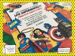 Tarjetas Invitacion Evento Cumple Infantil Super Heroes Lego