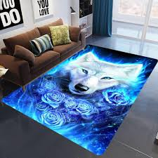 Blue Flowers Wolf Dog 3d Printed Carpets For Living Room Bedroom Area Rugs Kids Room Crawl Mats Crystal Fleece Child Play Carpet Nylon Carpet Prices Buying Carpets From Williem 22 49 Dhgate Com