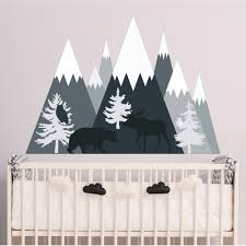 Shop Mountain Wall Decal With Bear Moose Overstock 21796431