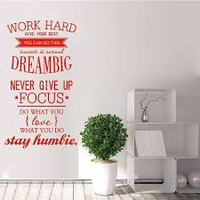Work Hard Dream Big Focus Words Wall Sticker Vinyl Wall Quotes Wall Quotes Word Wall Decor