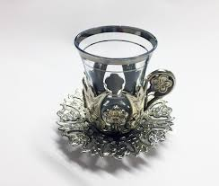 ottoman turkish tea glasses set with holder