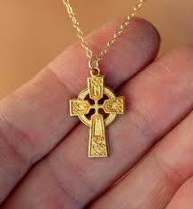 gold celtic cross necklace women irish