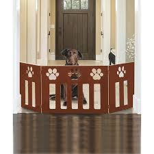 Shop 3 Panel Wood Pet Gate W Paw Print Cutout Design Freestanding Tri Fold Fence For Doorways Stairs Indoor Outdoor Pet Barrier Overstock 28243283