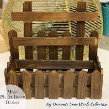 Get Inspired Mega Picket Fence Wooden Basket By Decorate Your World Collection 12 5 X 5 X 11 5 Inch Amazon In Home Kitchen