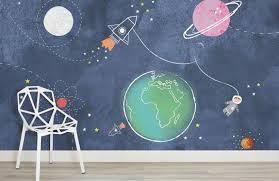 Rocket Wall Mural Space Wallpaper For Kids Muralswallpaper Kids Room Murals Kids Wall Murals Kids Wallpaper