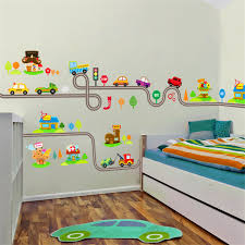 Cartoon Cars Highway Track Wall Stickers For Kids Rooms Sticker Children S Play Room Bedroom Decor Wall Art Decals Wall Stickers Aliexpress