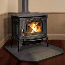 wood burning stove in two story home