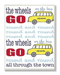 Amazon Com The Kids Room By Stupell The Wheels On The Bus Nursery Rhyme Blue Typography Rectangle Wall Plaque Baby