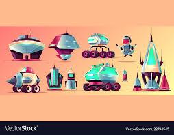 e stations and vehicles cartoon set