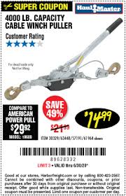 Haul Master 2 Ton Cable Winch Puller For 14 99 Harbor Freight Coupons