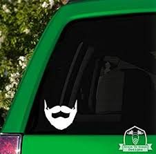 Amazon Com Grain To Glass Designs Beard And Mustache Vinyl Car Decal 4 Lime Automotive