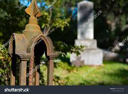 Rusted Fence Gate Graveyard Cemetery Tombstone Objects Stock Image 1516175498