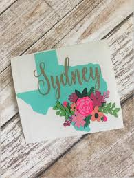Personalized Floral Texas Decal Texas Yeti Decal Texas Car Etsy