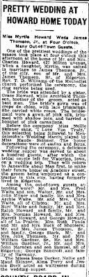 Wedding of Myrtle Howard and James Thomson Jr.-Apr 21,1915 - Newspapers.com