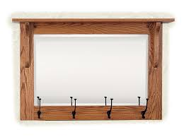 mission wall mirror with coat rack from