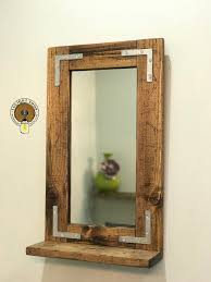 rustic distressed mirror with shelf