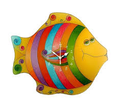 Fish Wall Clock Colorful Childrens Wall Decor Funny Kids Etsy