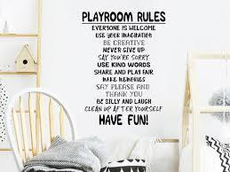 Playroom Rules Wall Decal Vinyl Decal Playroom Wall Etsy