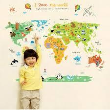 Cartoon World Map World Map Wall Sticker Children Room Cartoon Earth Map Kids Bedroom Decor Vinyl