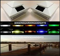 Solar Post Cap Deck Fence Color Led Lights 5x5 Or 6x6 White Colored 2 Pack Ebay