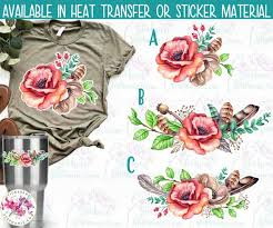 Iron On Transfer Or Sticker Decal S10 Rustic Rose Floral Flowers Watercolor Print Vinyl Decal Stickers By Stephanie